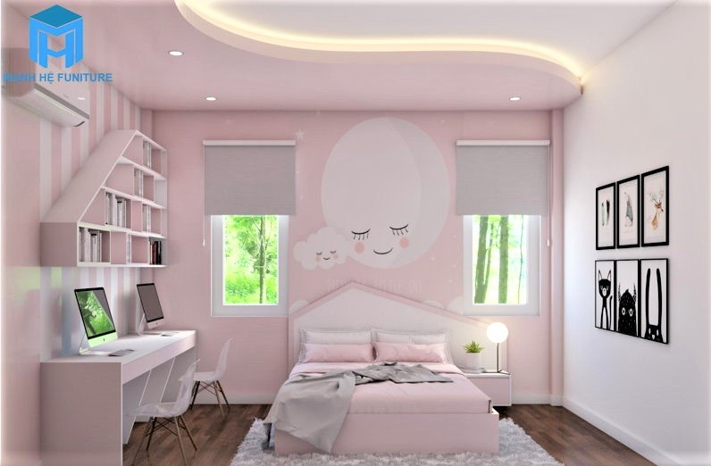 Giấy dán tường 3d cho phòng bé gái