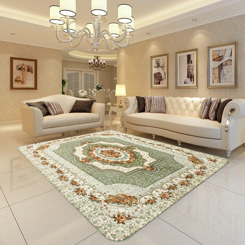 Thảm trải sàn phòng khách đặt sát mép ghế