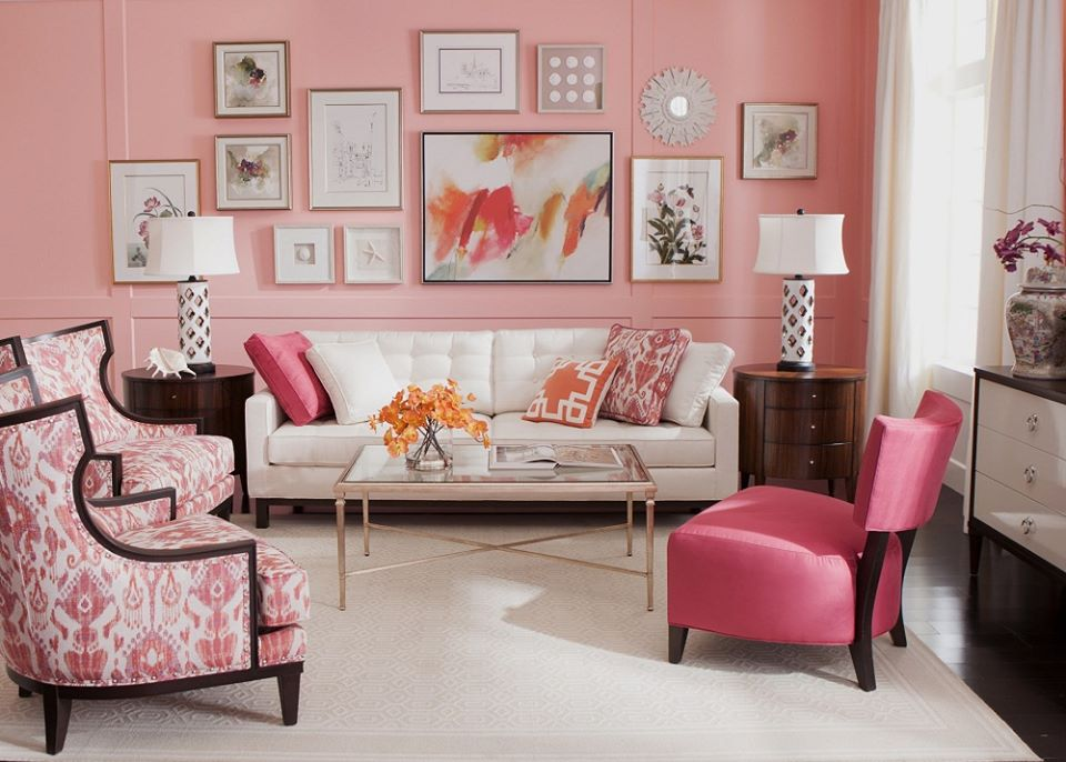 Điệu đà với phòng khách màu hồng Pastel