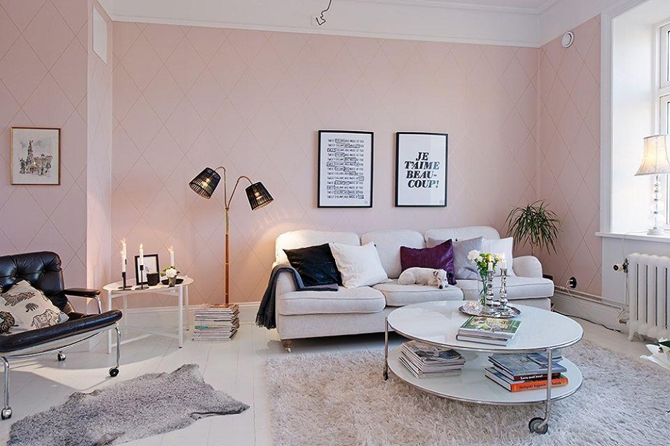 màu hồng pastel cho phòng khách dịu dàng