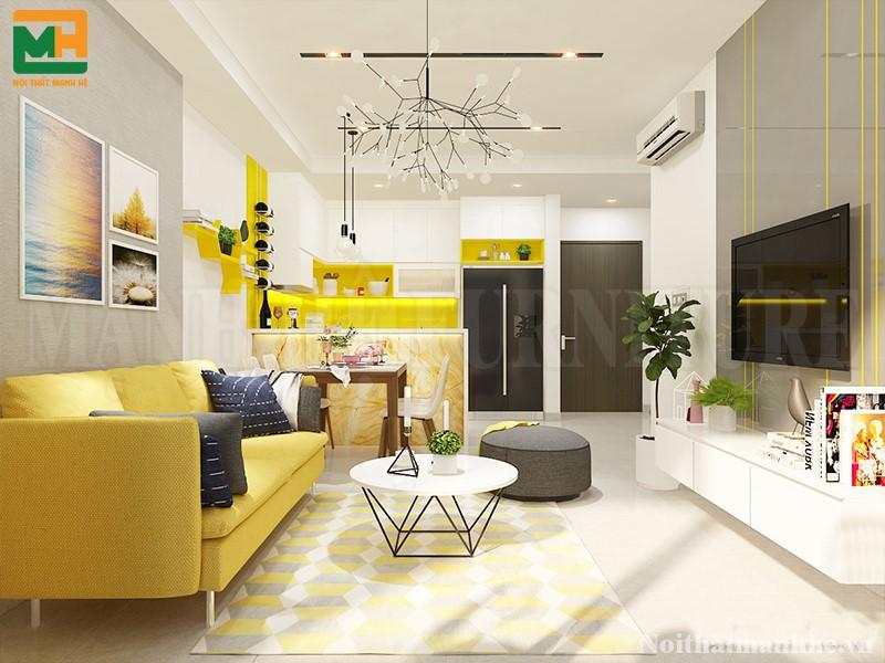 thiết kế nội thất phòng khách nhà chị linh