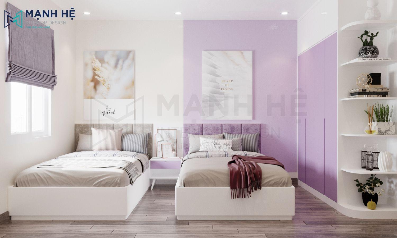 Phòng ngủ 2 màu sinh động