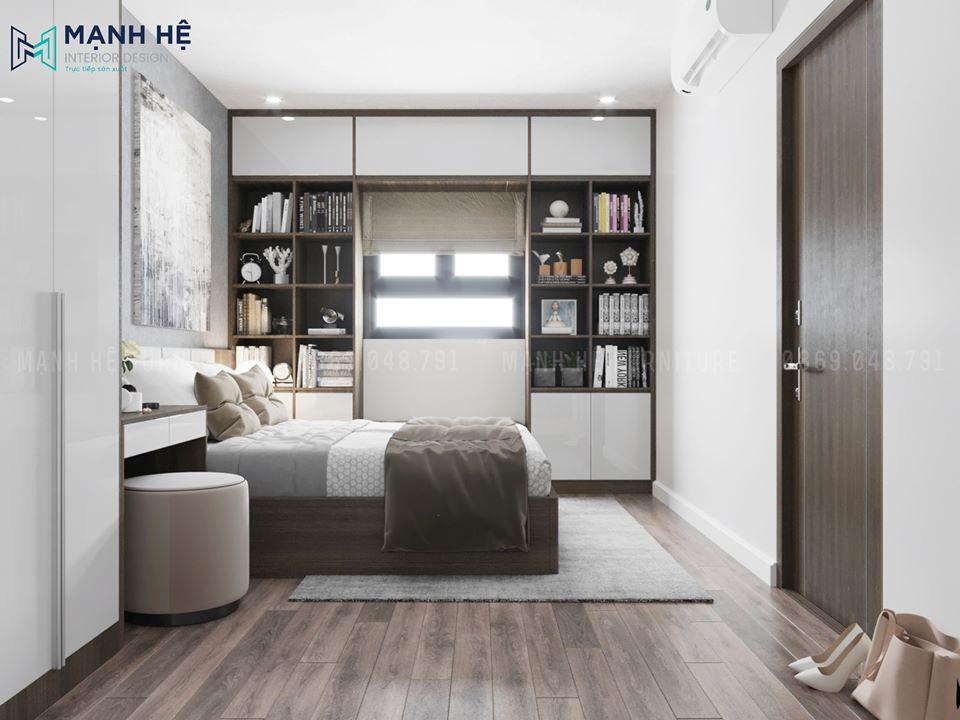 Hệ tủ kệ trang trí lớn cho phòng ngủ master