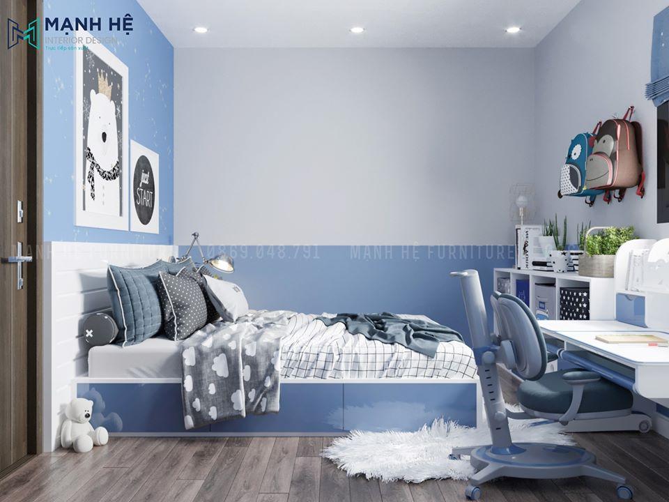 Nội thất phòng ngủ màu xanh dương