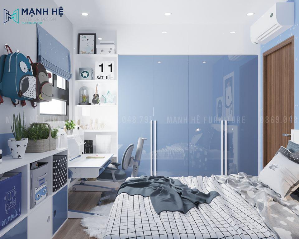 Tủ quần áo Acrylic cao đụng trần màu trắng xanh