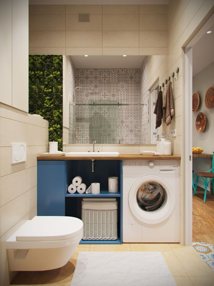 máy giặt trong phòng tắm