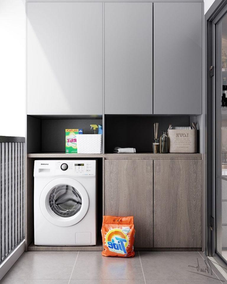 không gian giặt đồ ngoài ban công tiện nghi