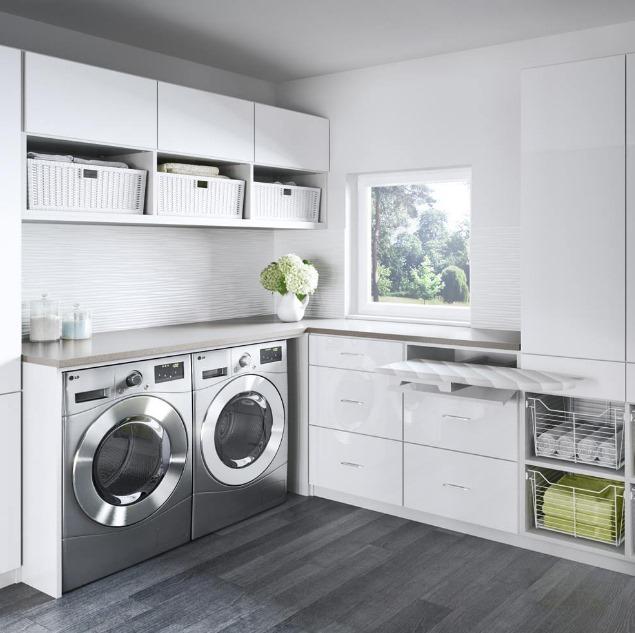 phòng giặt riêng màu trắng tiện nghi