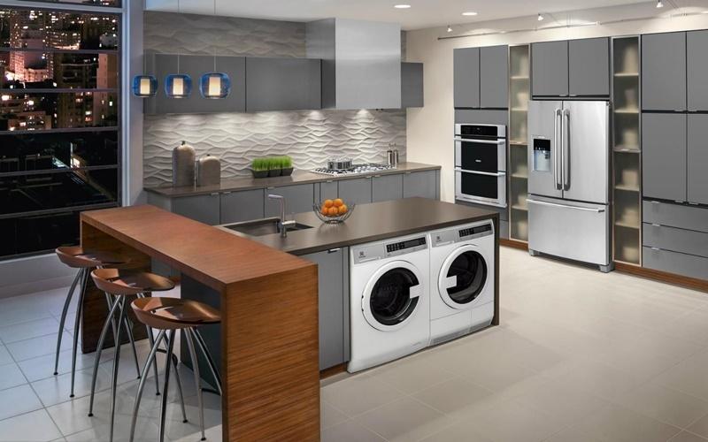 tích hợp phòng giặt và bếp sang trọng