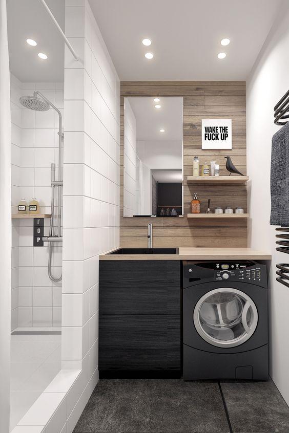 tách biệt 2 không gian tắm và giặt