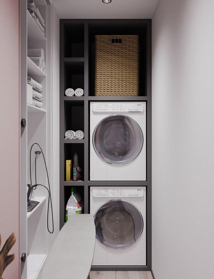 không gian giặt đồ trong hành lang