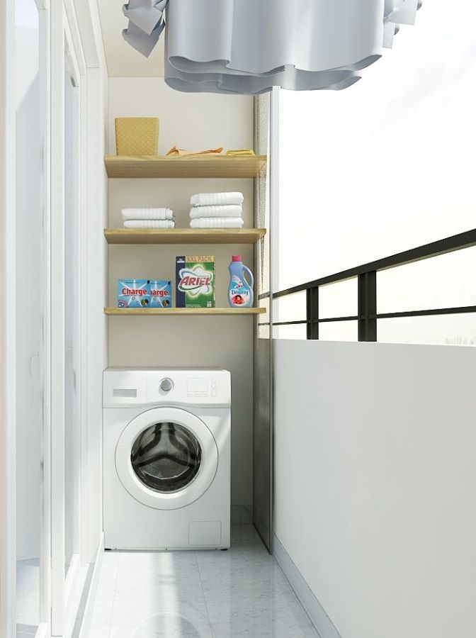 không gian giặt đồ ngoài ban công đẹp và hiện đại