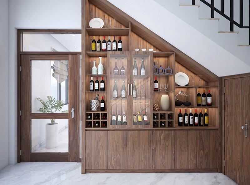Kệ tủ rượu cửa kính gầm cầu thang
