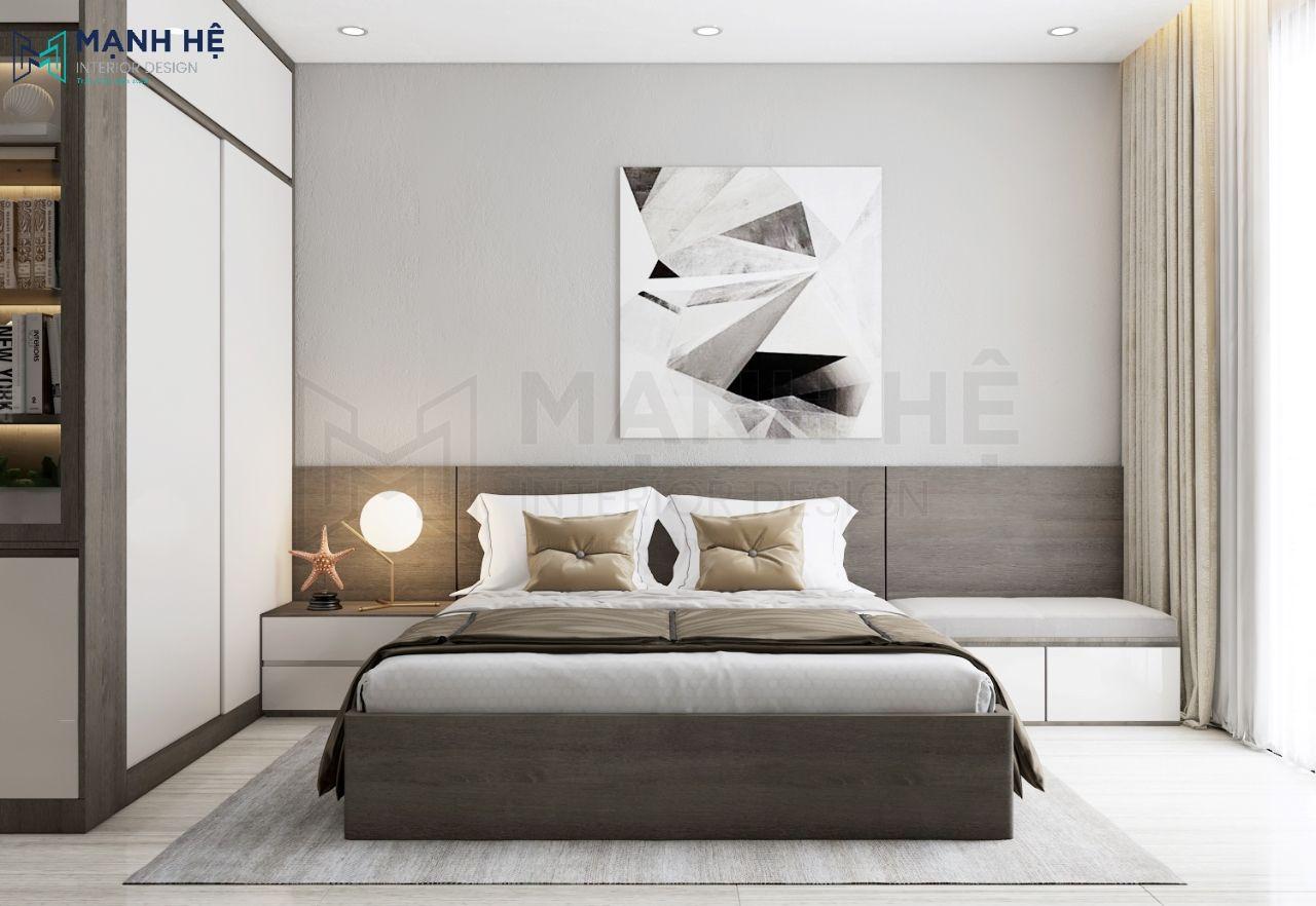 Vách ốp gỗ đầu giường phòng ngủ master