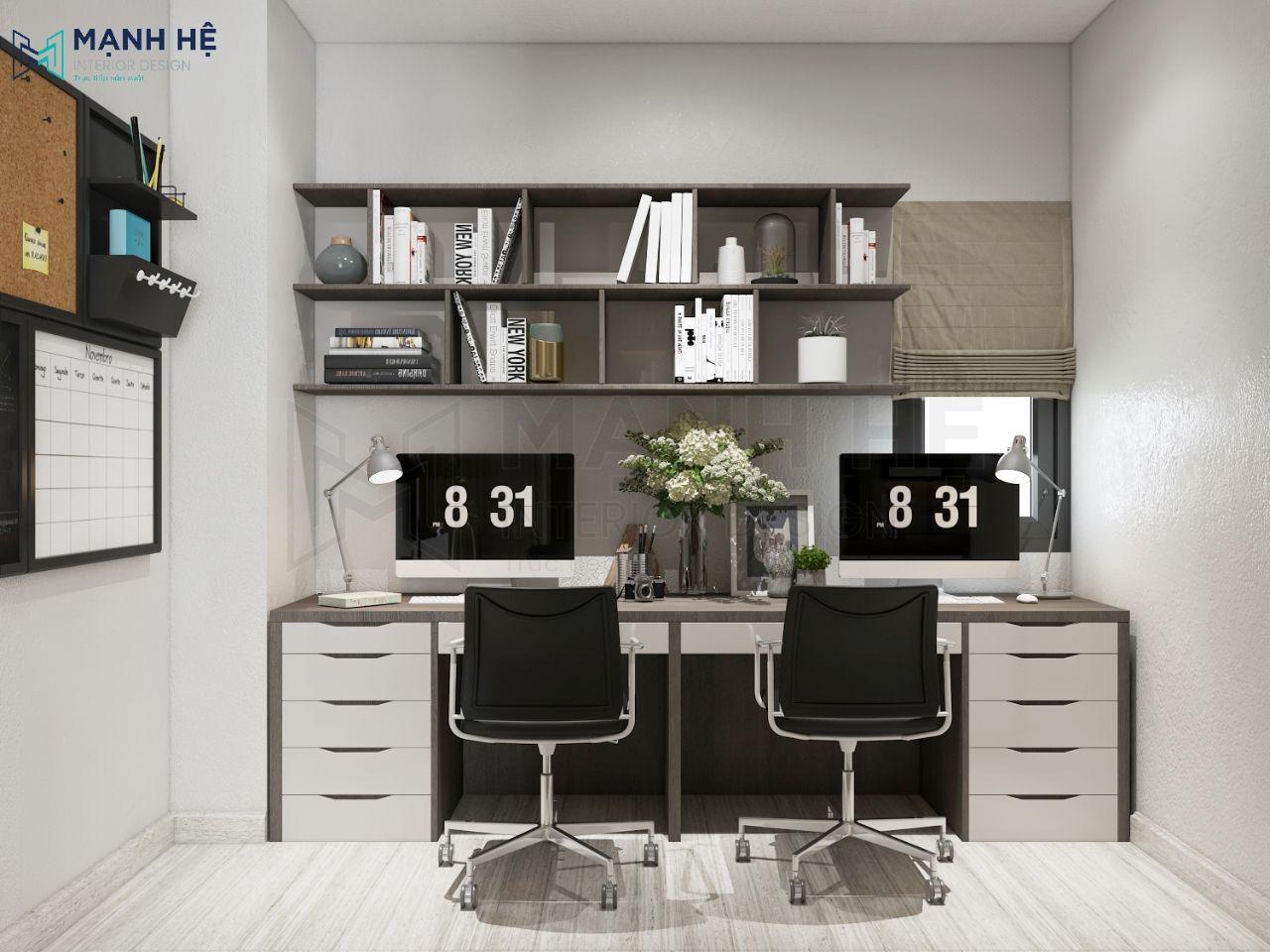 Thiết kế bàn làm việc đôi trong phòng ngủ