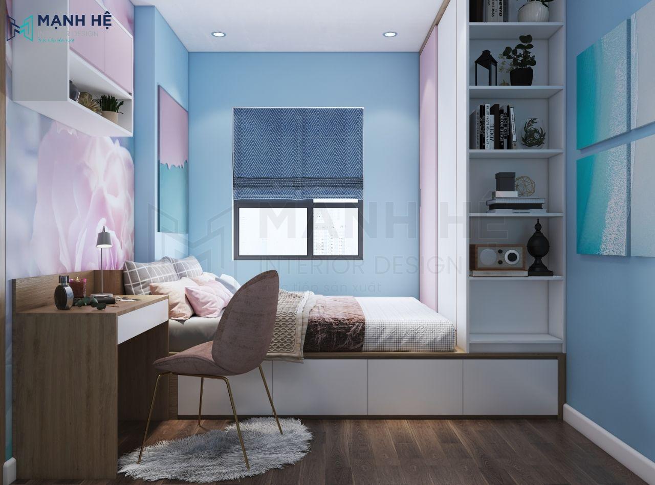 Giường ngủ dạng bục phòng bé gái