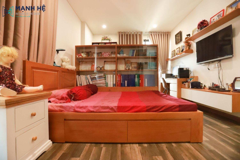Thi công kệ tivi phòng ngủ
