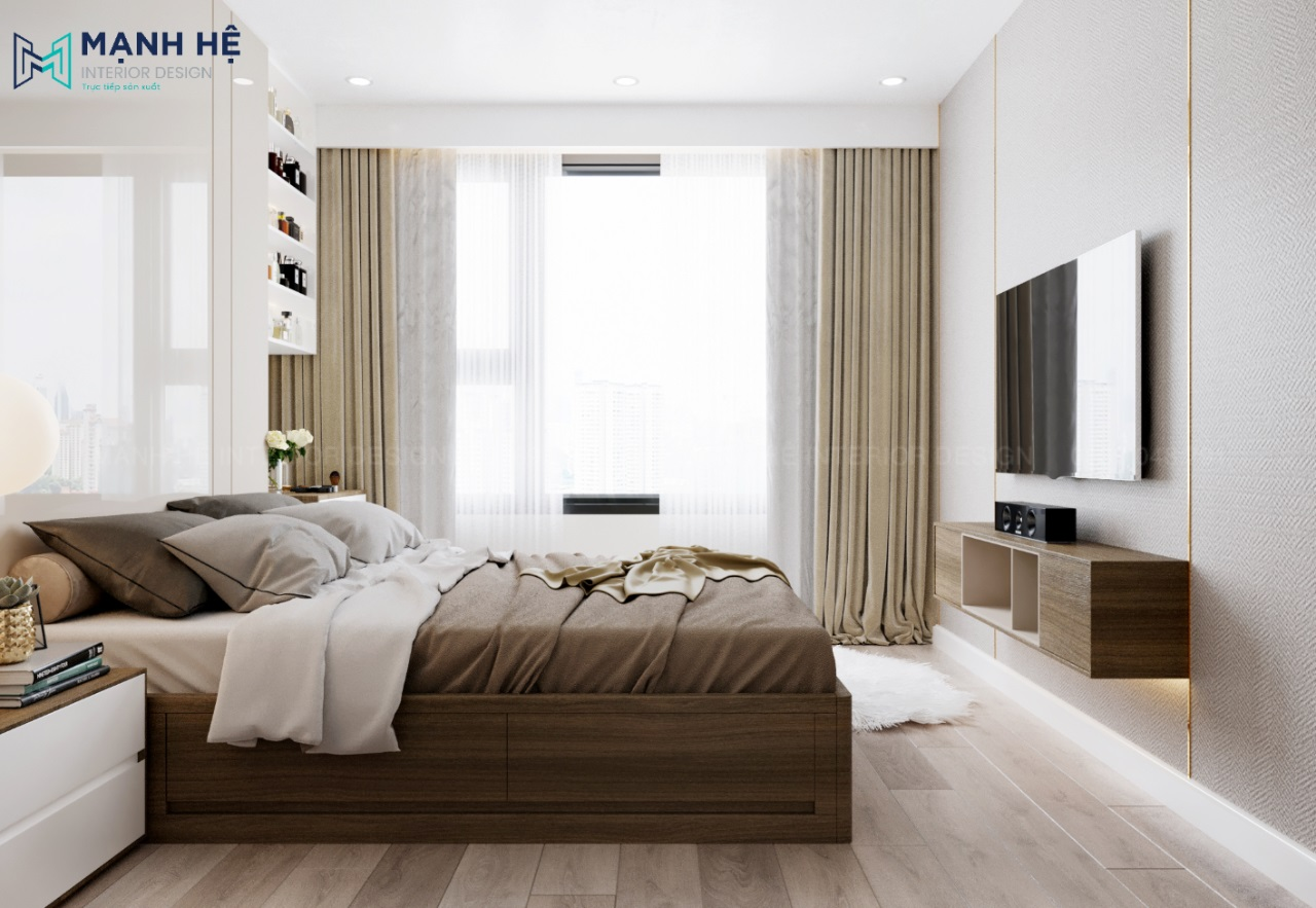 Kệ tivi gỗ treo tường phòng ngủ master