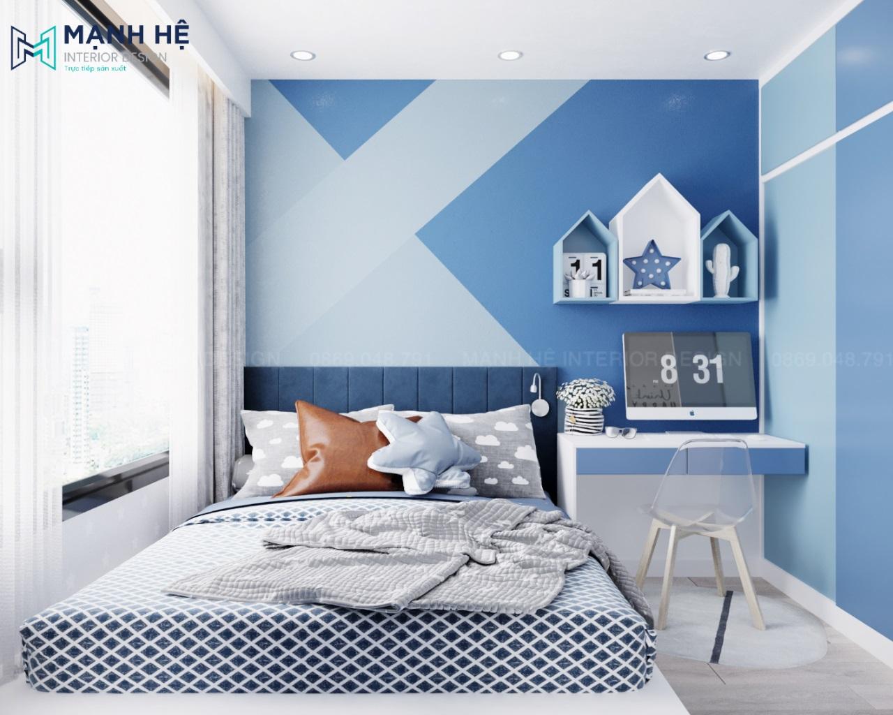Thiết kế nội thất phòng ngủ màu xanh cho bé trai