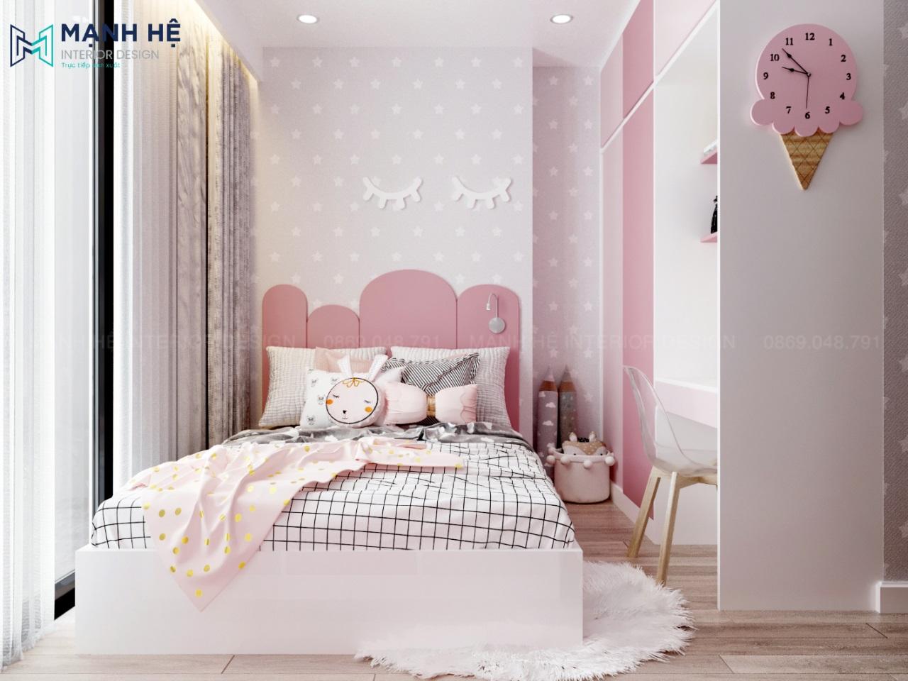 Nội thất phòng ngủ bé gái màu hồng