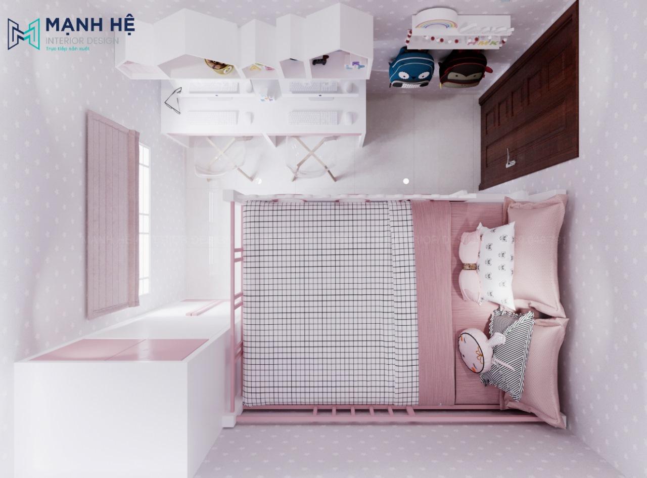 phòng ngủ màu hồng cho bé