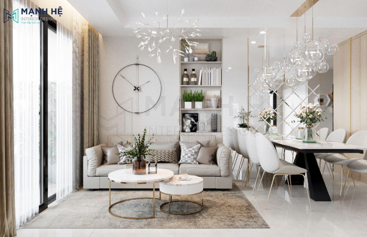 Sử dụng giấy dán tường màu xám nhẹ nhàng cho không gian phòng khách
