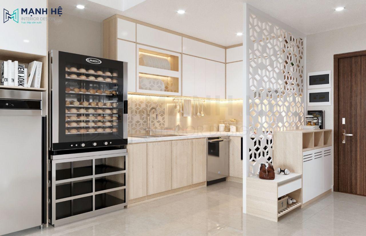 Vách CNC ngăn phòng khách và bếp
