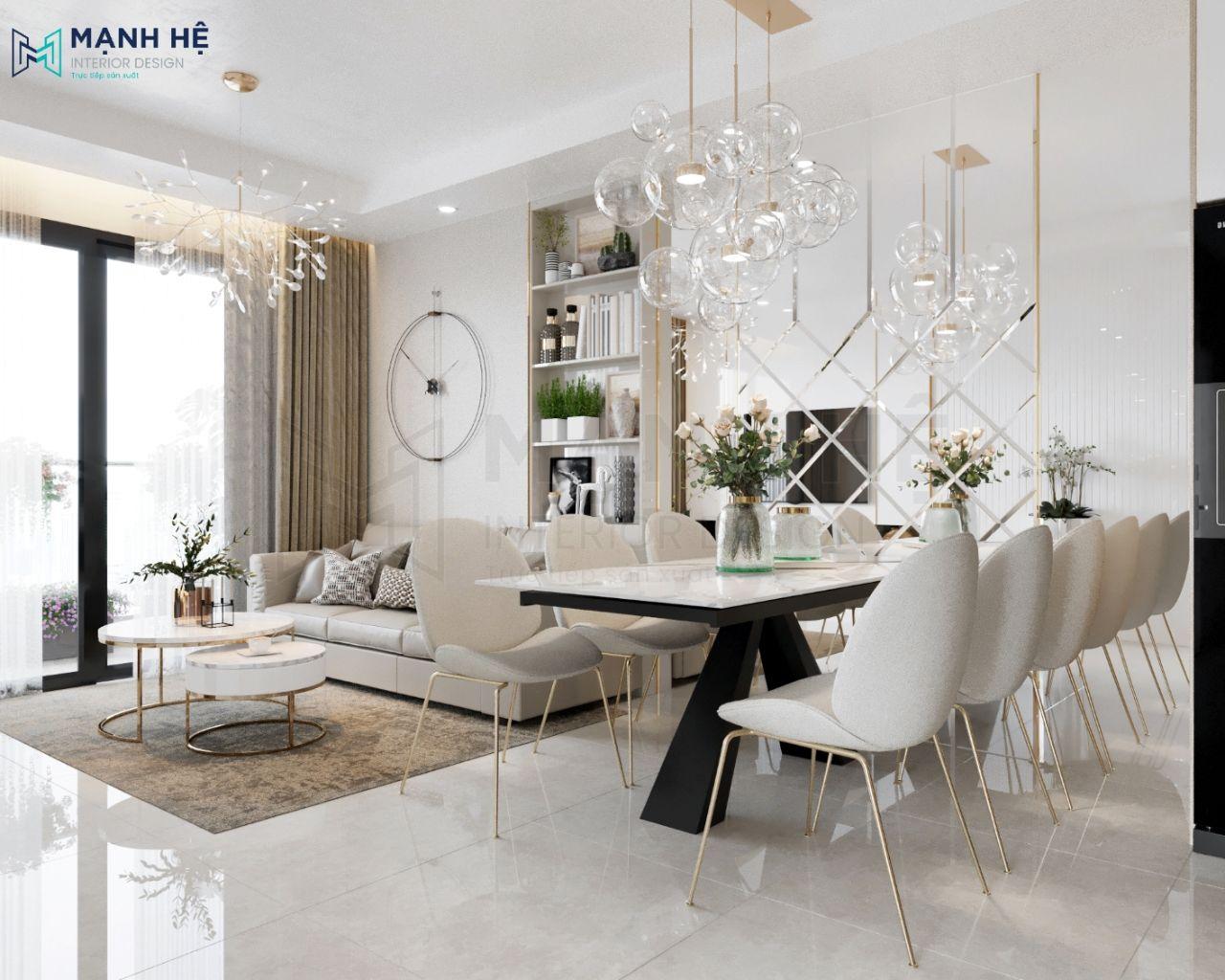 Ốp gương lớn cạnh bàn ăn cho phòng khách liền bếp