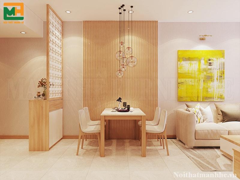 thiết kế nội thất phòng khách liên thông bếp