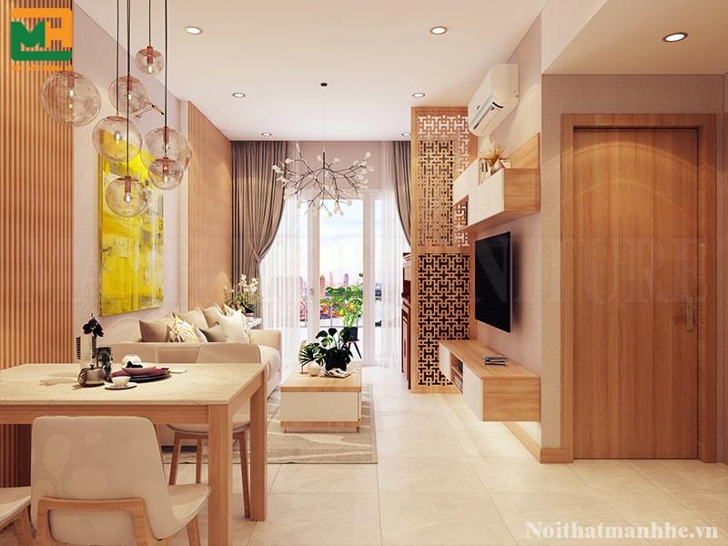 thiết kế phòng khách liên thông với bếp