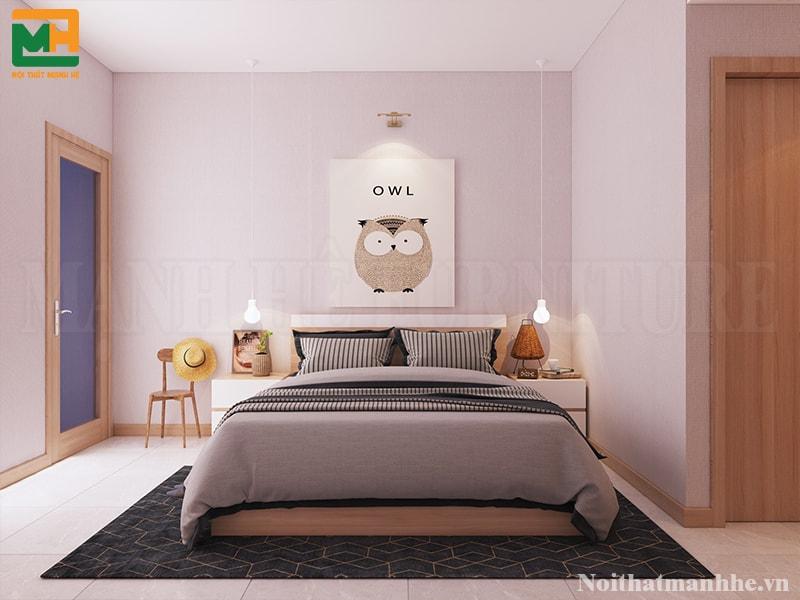 mẫu phòng ngủ phối màu hồng tím