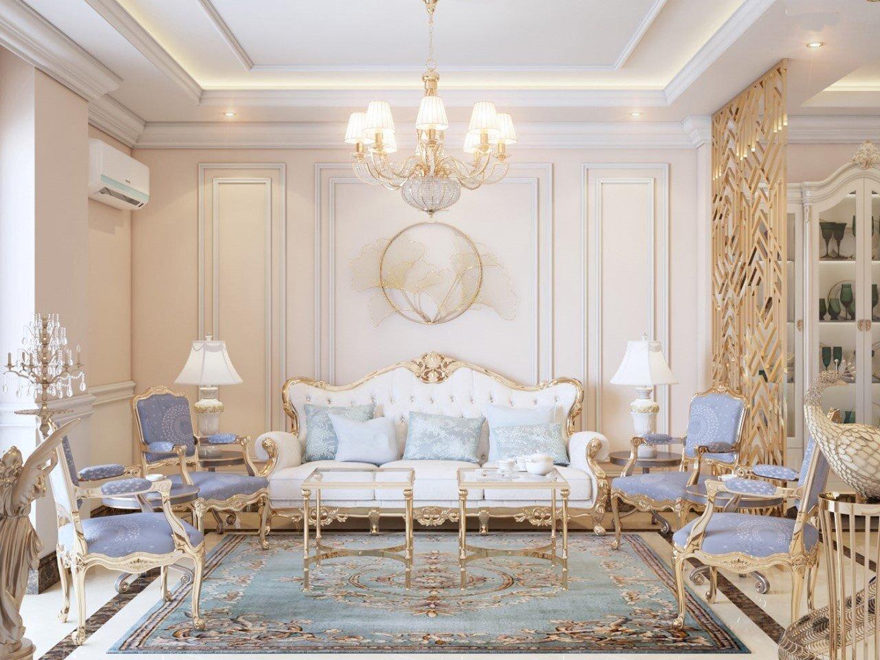 20 mẫu nội thất phòng khách tân cổ điển được nhiều người ưa chuộng nhất