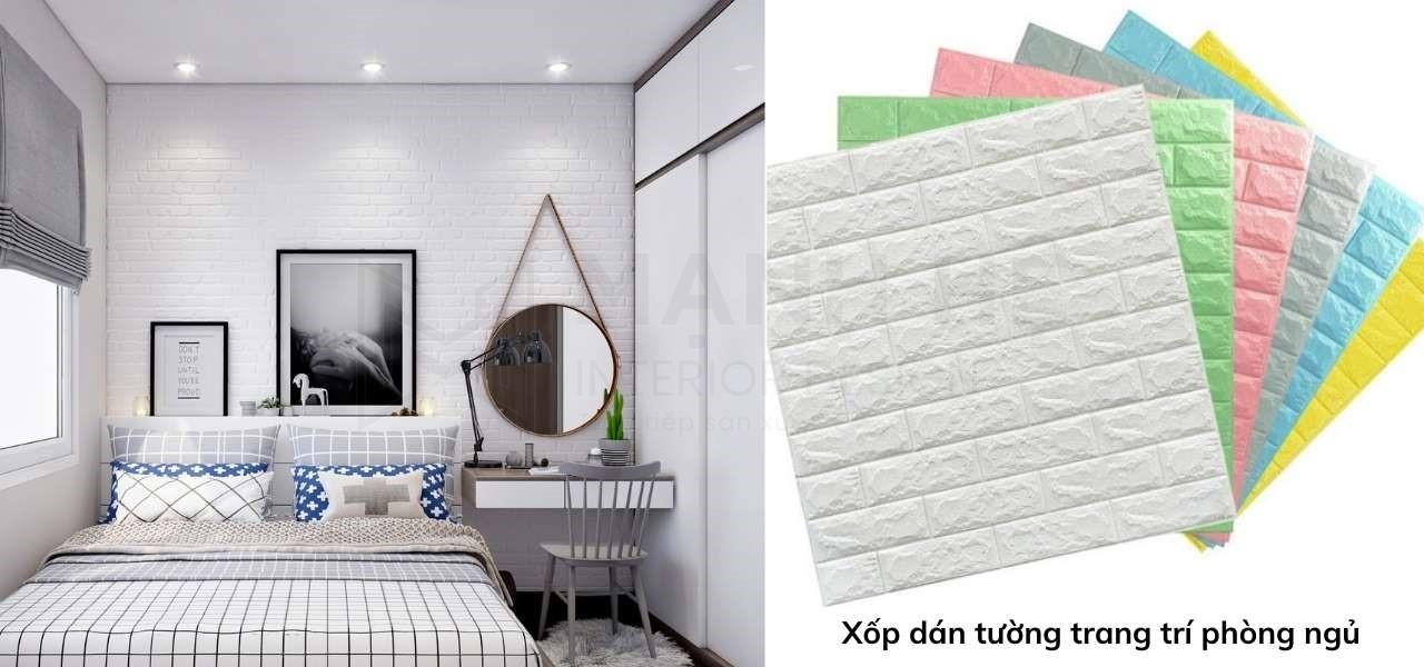 Xốp dán tường Hàn Quốc decor phòng ngủ nhỏ