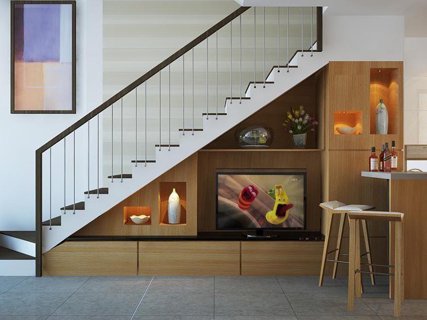 tủ trang trí cầu thang phòng khách