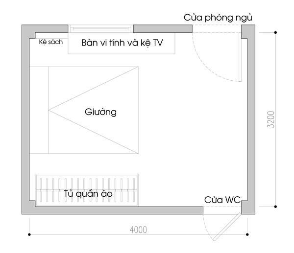 Bản vẽ mặt bằng phòng ngủ với những món đồ nội thất cơ bản