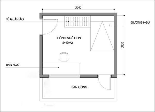 Bản vẽ mặt bằng phòng ngủ có diện tích 10m2