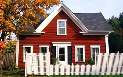 mẫu căn nhà với màu sơn ngoài  đỏ