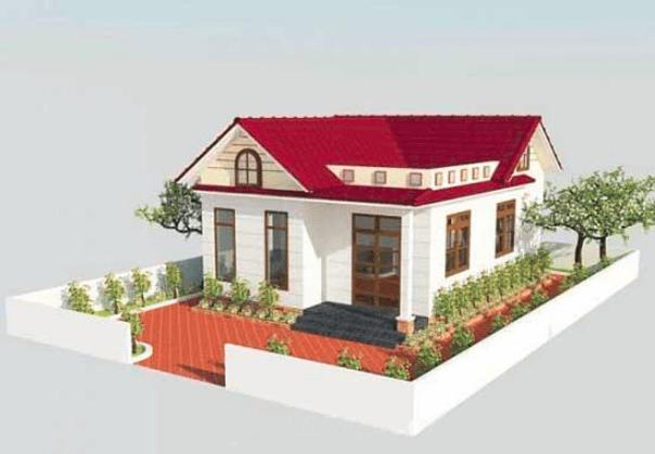 bản vẽ 2d ngôi nhà mái thái 3 phòng ngủ