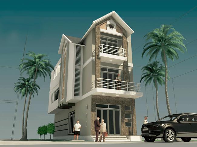 bản vẽ 3d mô phỏng bên ngoài ngôi nhà