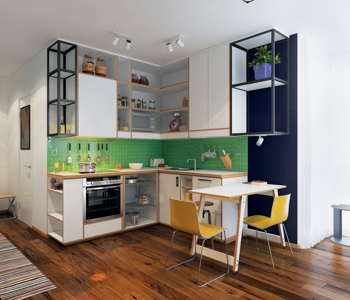 thiết kế nội thất phòng bếp với màu xanh màu vàng và màu trắng