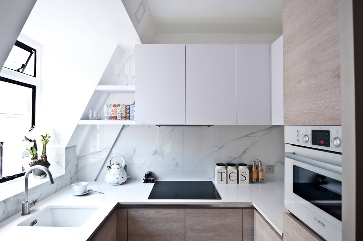 sử liệu chất liệu gỗ và đá để trang trí nhà bếp