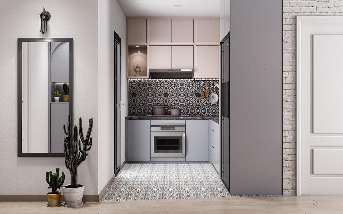 phòng bếp được trang trí bằng gạch cổ diển