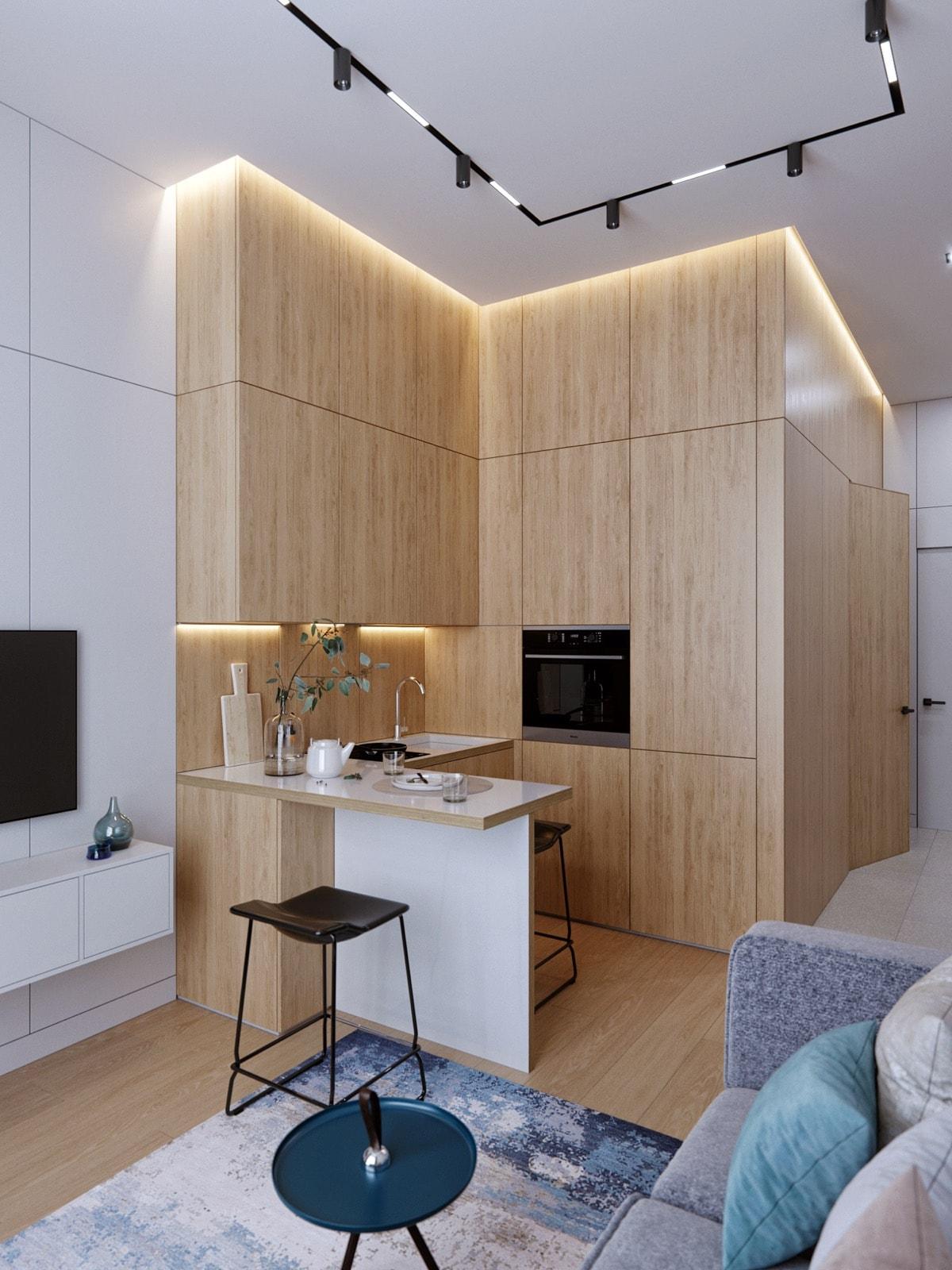 dùng vật liệu gỗ để trang trí toàn bộ không gian nhà bếp