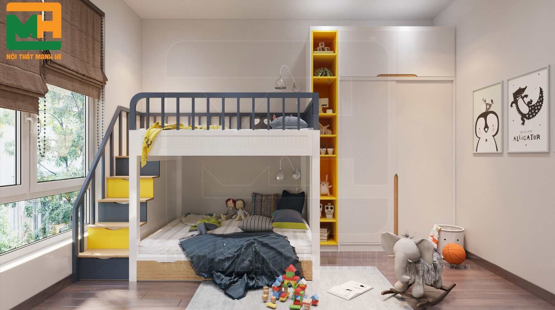 mẫu nội thất phòng ngủ 2 bé trai