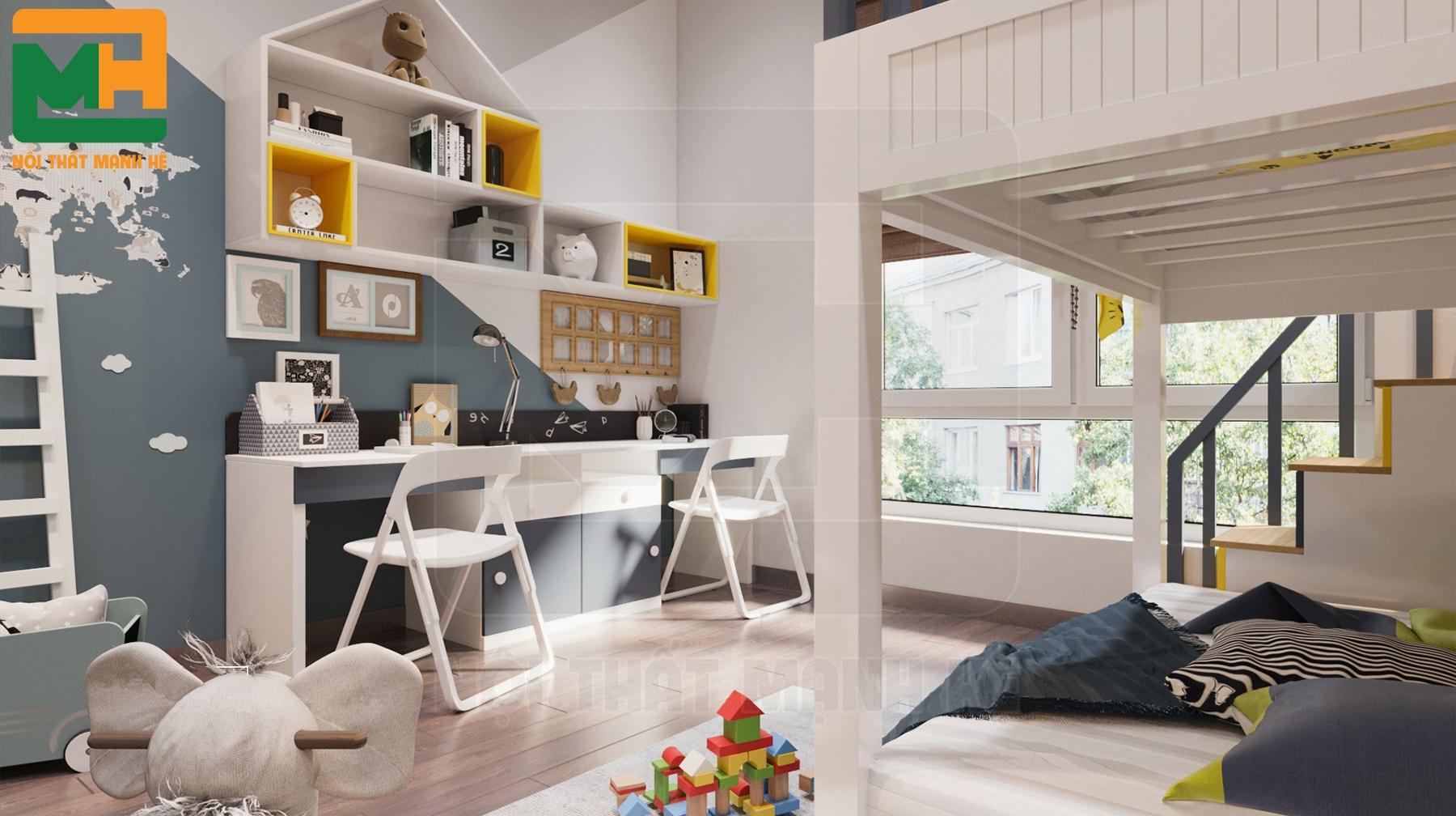 thiết kế nội thất phòng ngủ 2 bé trai