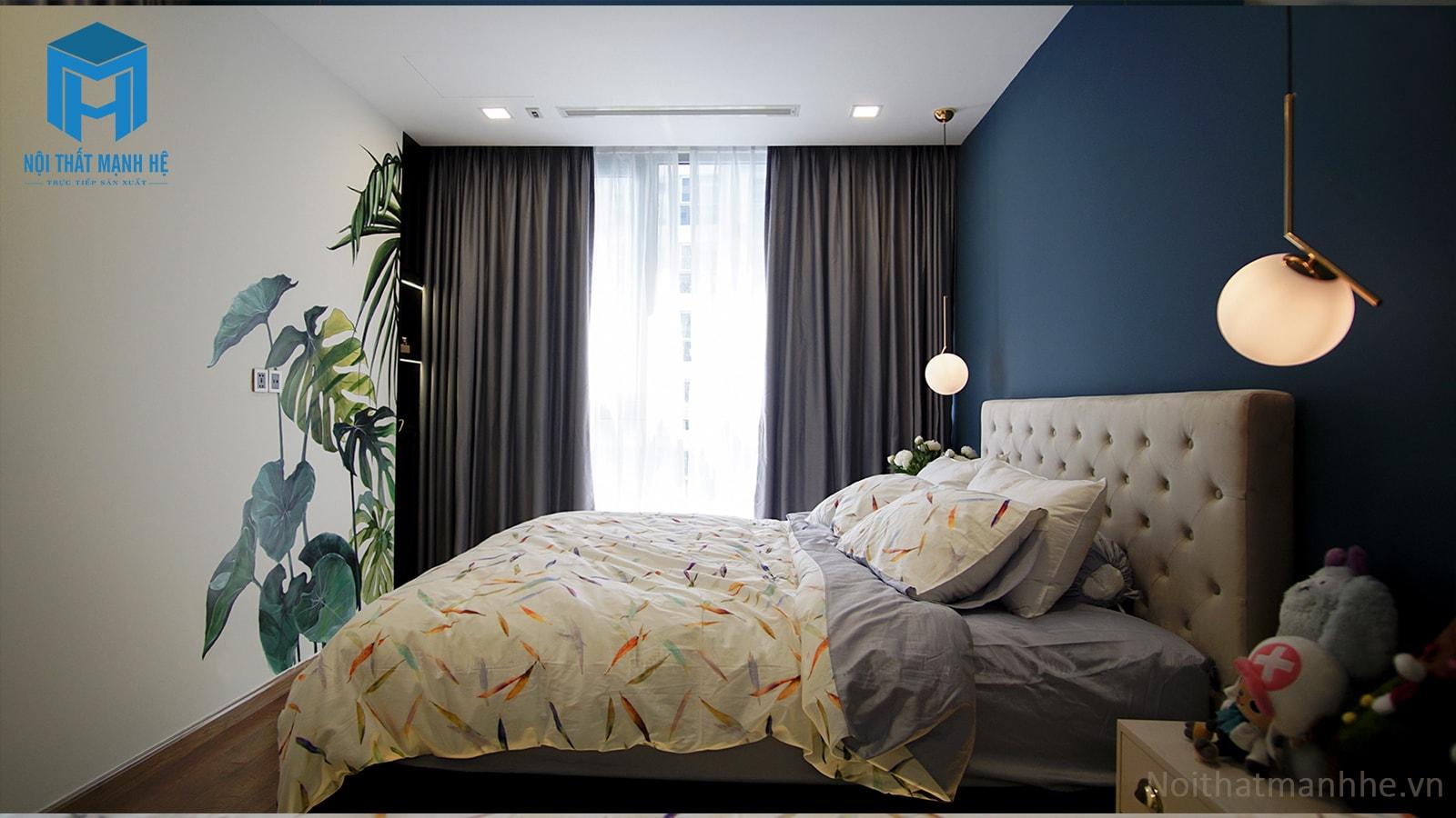 thiết kế nội thất phòng ngủ màu xanh