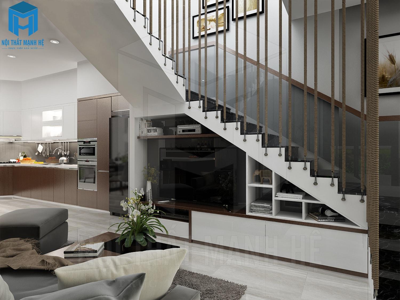 thiết kế nội thất phòng khách nhà chị thu