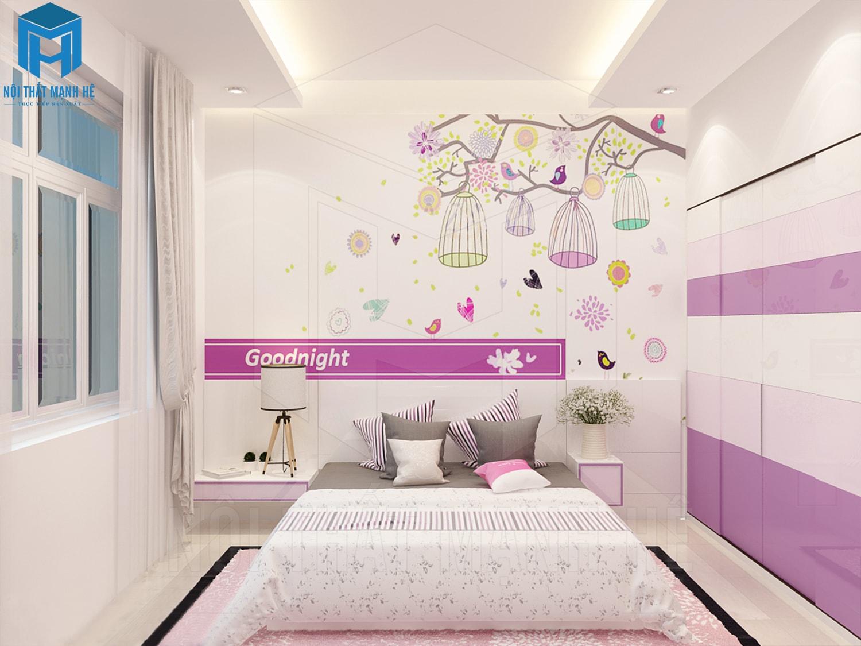 nội thất phòng ngủ màu hồng tím