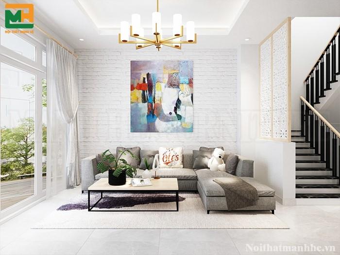 thiết kế nội thất phòng khách nhà phố nhà chị hà