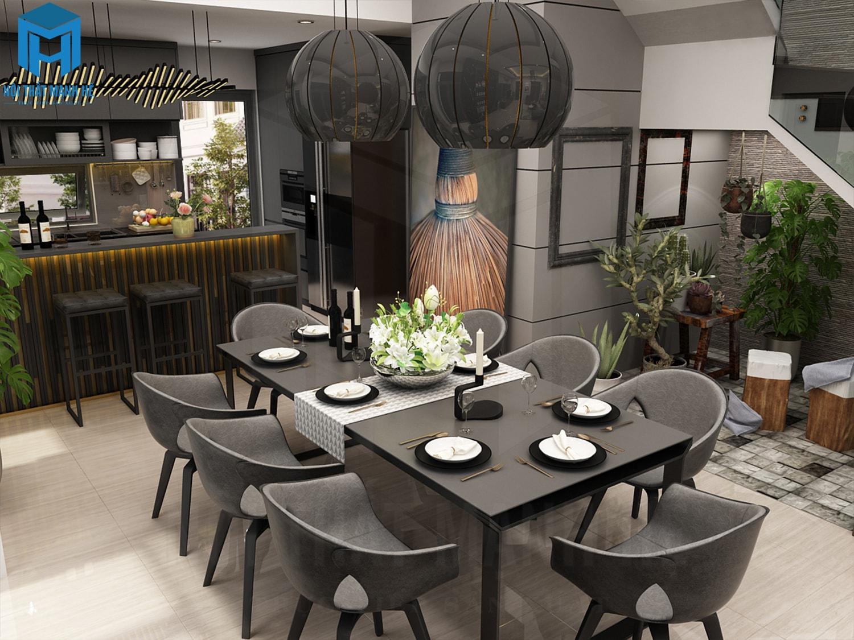 mẫu thiết kế phòng ăn 6 người